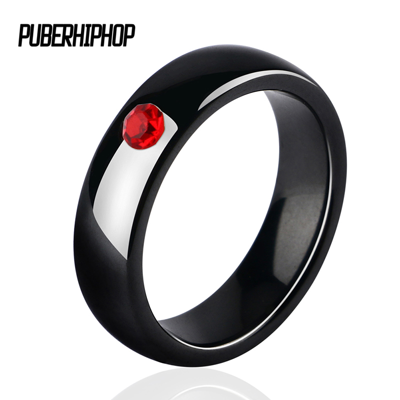 New Wedding Rings With One Big Red Crystal Refined Simplicity 6mm Smooth Black Ceramic Rings For Women For Engagement Jewelry