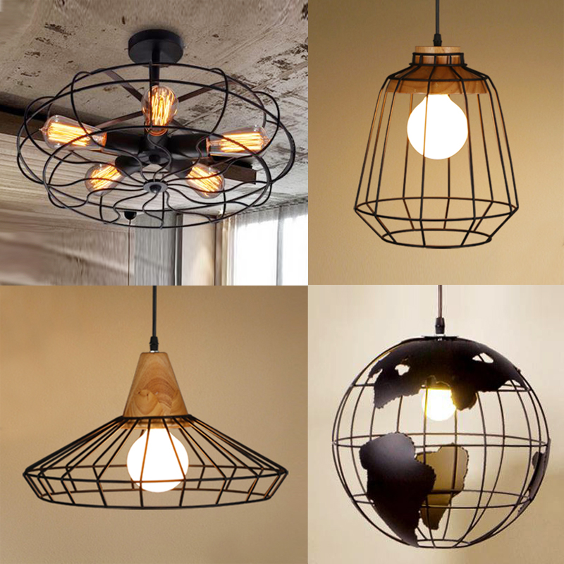 Black White copper Iron industrial cage Light earth cage creative diamond Loft Ceiling lights vintage restaurant bar foyer lamp
