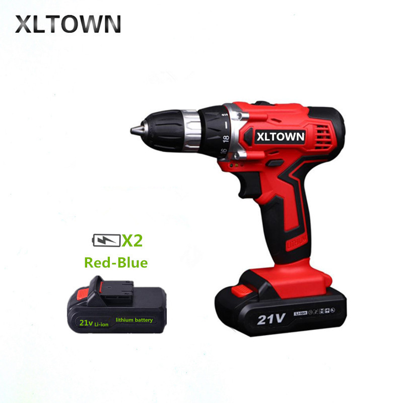 XLTOWN 21V Cordless Drill Household Multifunction Electric Screwdriver Rechargeable Lithium Battery Electric Screwdriver xltown 21v electric screwdriver multifunction rechargeable lithium drill electric household cordless electric drill power tools