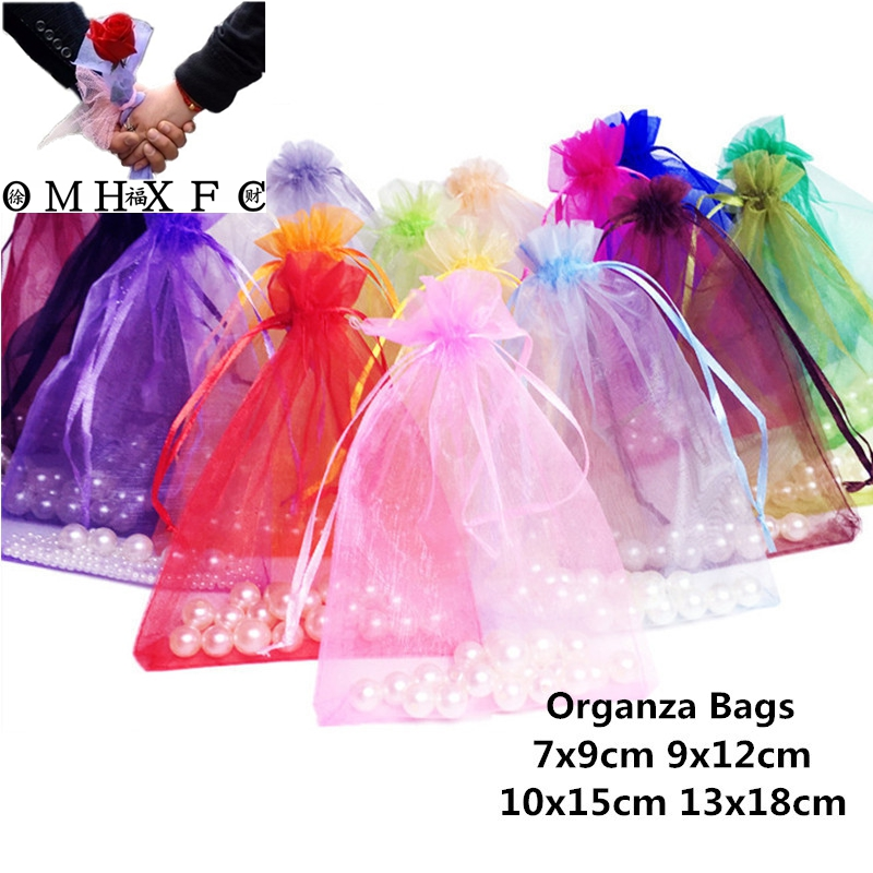 Gift-Bags Jewelry Favors Wedding-Party-Decoration Drawable Organza 10x15 10pcs Wholesale