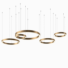Modern LED Pendant Light hanging gold lights for living room ring fixtures circular hotel dining room decorative pendant lamp стоимость