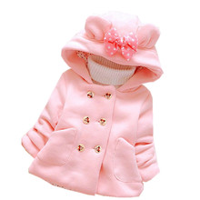 256 High quality 0-4 years winter girl jacket thicken warm Hooded baby