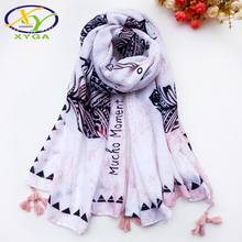 1PC Women Cotton Long Scarf Tassels 2019 Spring Female Polyester Soft Shawls Ladies Fresh Style Wraps Autumn Muslim Scarves