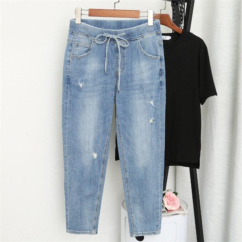 L-5XL Boyfriend   Jeans   Women With High Waist Harem Pants Plus Size Mom   Jeans   Streetwear Casual Elastic Vintage   Jeans   Femme Q1106