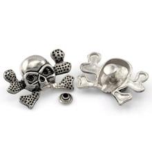 50Sets Punk Skull Crossbone Sketon Studs Spots Spike Rivets Garment Silver Tone 3.4x2.4cm 7x3.5mm