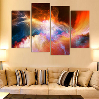 Free Shipping 4 Piece Large Canvas Art Cheap Modern Abstract Purple Pictures Oil Painting Landscape Wall