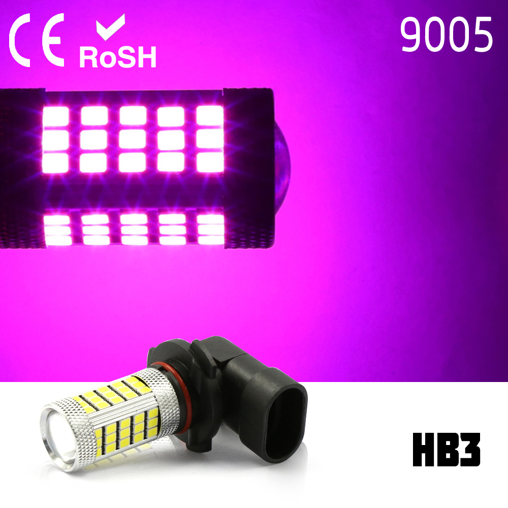 9005 HB3 High Power 2835 LED 63 smd Projector Fog Driving DRL Lights pink
