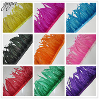 YOYUE 5 yards Meter Quality Chicken Rooster Tail Feather Trims Ribbons 35 40CM Strip for Dress Skirt Party Clothing Craft Making