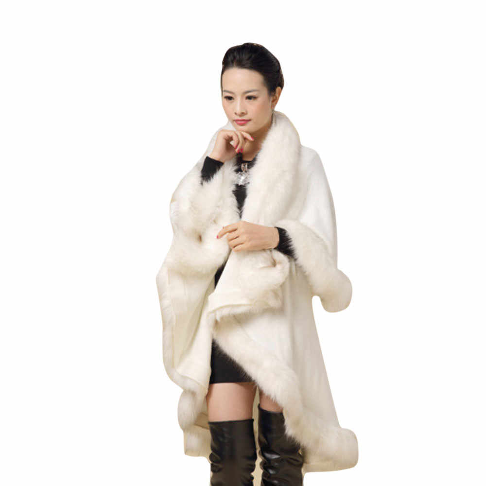 Women Spring Autumn Faux Fur Coat Collar Poncho Cape Thin Stole Wrap Hoody Coat O.12