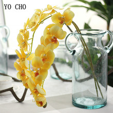 YO CHO Artificial Flowers Orchid 11 Head Silk Pink White Real Touch Flower Wedding Home Butterfly Decor