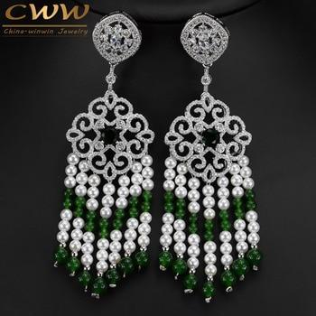2e4bcd8ee823 Hecho a mano vintage grande largo indio étnico Pendientes jewlery con  pendientes perla y creado verde esmeralda Piedras cz327