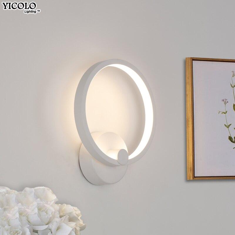 LED Wall Lamps Bedroom Bedside 12w15w white frame Modern Simple Style Reading Lamp Living Room Foyer AC90-260V bracket Lighting