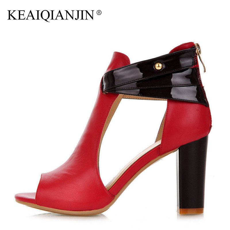 KEAIQIANJIN Woman Peep Toe High Sandals Genuine Leather Red Sexy Summer Pumps Black Apricot Plus Size 33 - 43 Wedding Sandals keaiqianjin woman patent leather pumps plus size 33 43 high shoes spring autumn metal decoration black genuine leather pumps