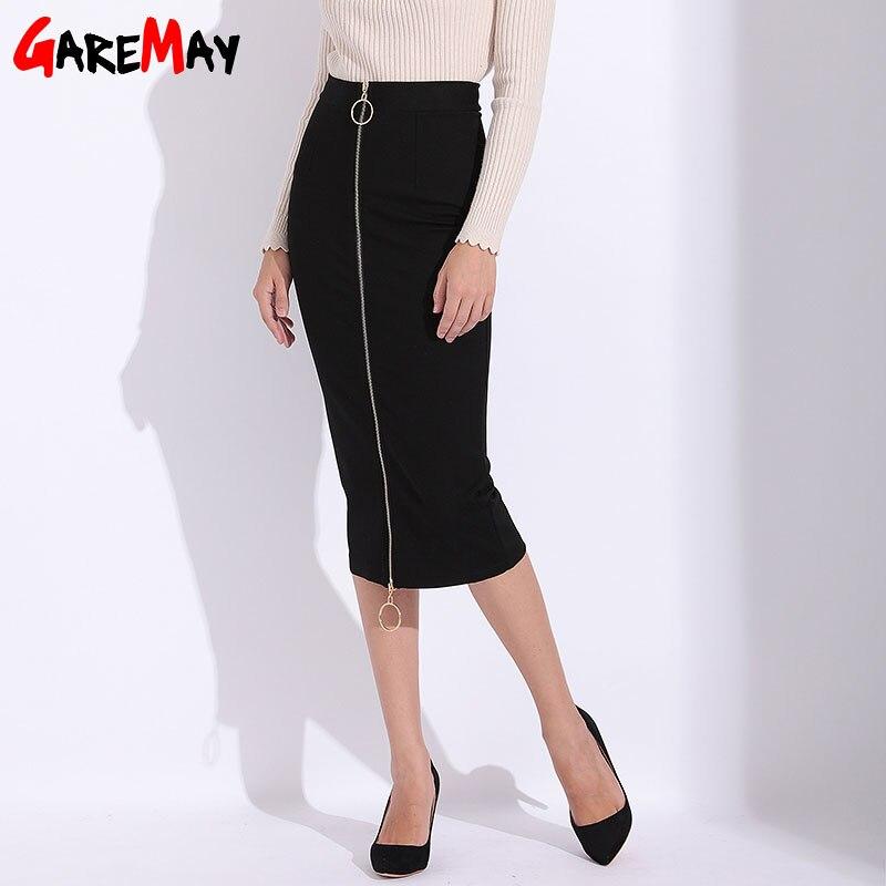 Female Skirt Long Pencil Sexy Skirts Womens Black High Waist Zipper Causal Slim Ladies Office Skirt Plus Size Autumn GAREMAY