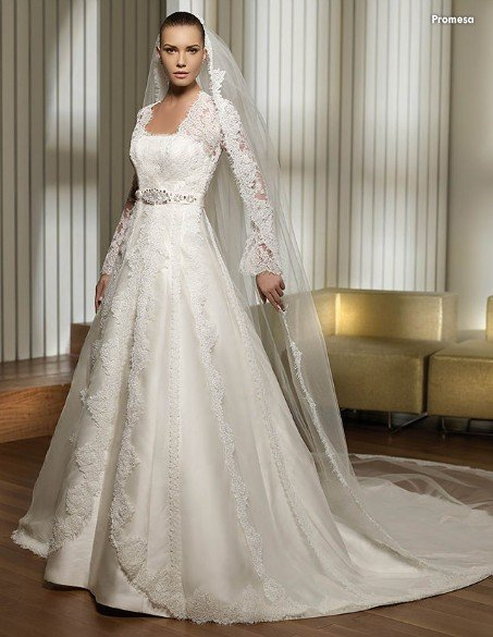 Lace Bust and Long Sleeves Appliqued Jacket Satin Bridal Wedding Dress