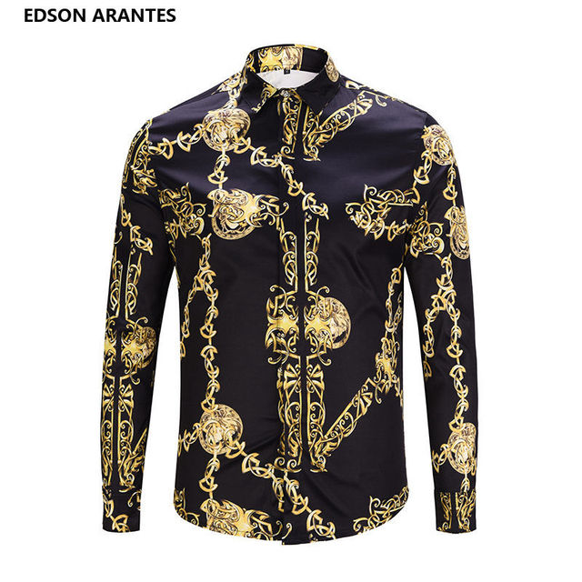 f903c6890 EDSON ARANTES Fashion Male Shirt Unique Design 3D Black Gold Chain Print  Shirt Men Luxury Palace Baroque Royal Fancy Man Shirts