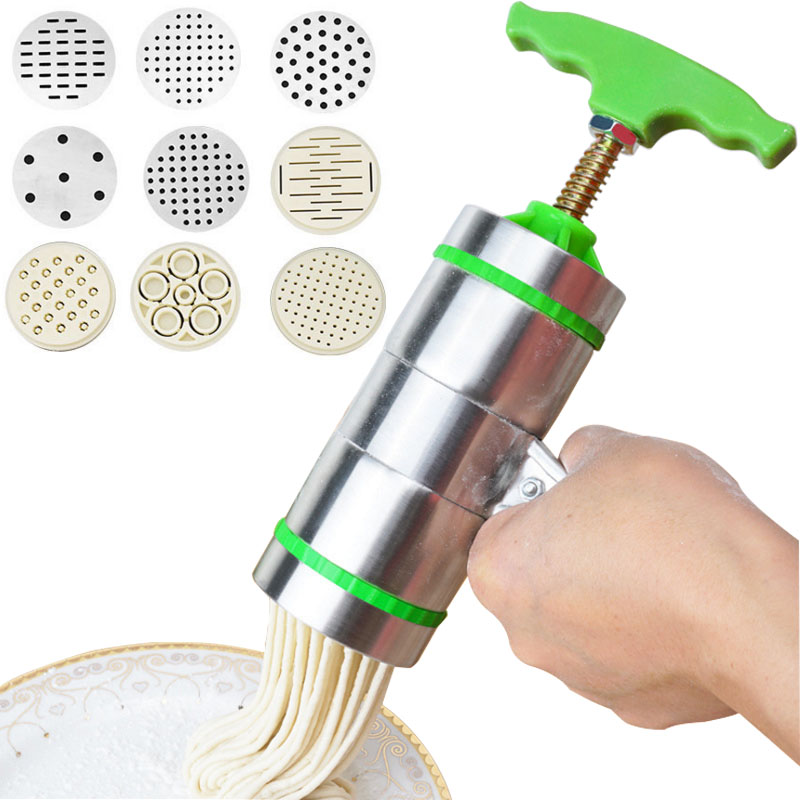 Noodle Pasta Press Maker Machine Hand Cutter,Manual Juicer Cookware with 7/5 Pressing Moulds -Making Spaghetti Fettuccine Noodle image