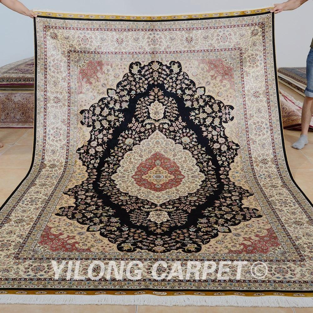Yilong 6'x9 'Antik el düğümlü oturma odası ipek halı farsça - Ev Tekstili