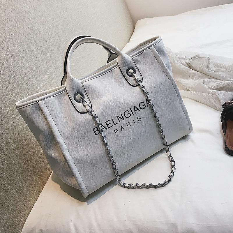 New Pattern European And American Wind Fashion Simple Letter Handbag Shoulder Trend Wild Women Bag PU Large Capacity Handbag fashion letter label embellished shinning pu baseball cap for men and women
