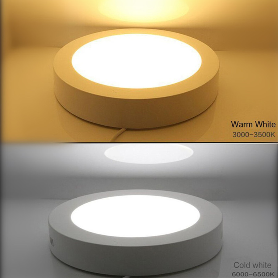 Round Panel Ceiling Light 6W12W18W Surface Mount Lighting AC110V220v Living Room Interior Lighting Bulb