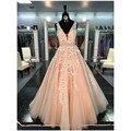 Rosa de la moda v cuello applique a line vestidos de noche largo de tulle partido prom vestidos robe de soirée vestido de festa