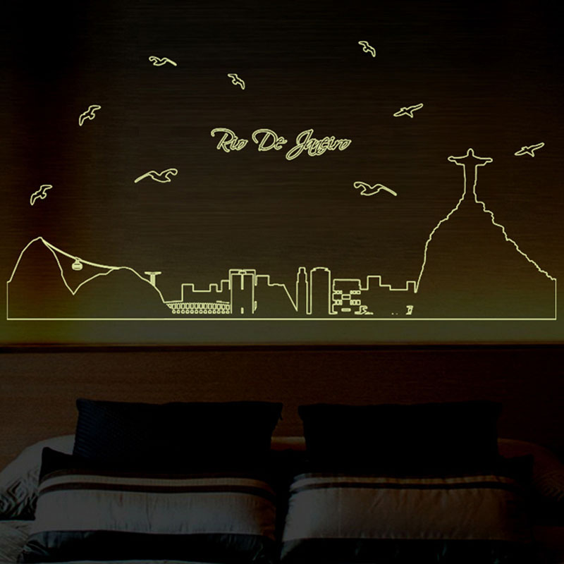 3d diy removable luminous vinyl wall stickers glow in the dark