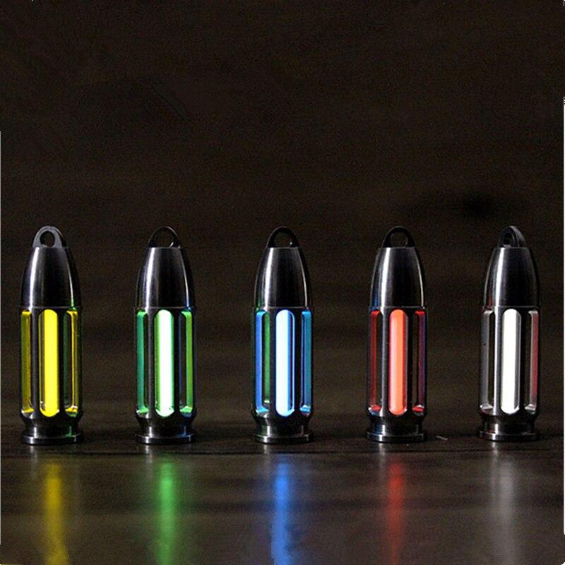 TC4 Titanium CNC Hollow Bullet Tritium Tube EDC Self luminous Pendant Key Holder Tritium Gas Signal
