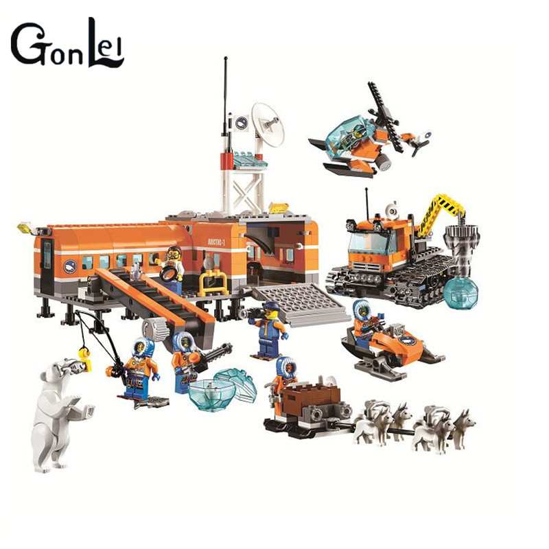 (GonLeI) 10442 City figureblock Brick Arctic Base Camp Building Blocks Model Toys Children brick compatiable with kid gift loz mini diamond block world famous architecture financial center swfc shangha china city nanoblock model brick educational toys