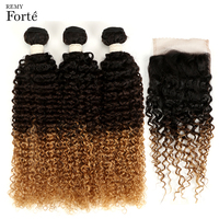Remy Forte Ombre 3 / 4 Bundles With Closure Brazilian Kinky Curly Bundles With Closure T1B/4/27 Weaves Human Hair With Closure