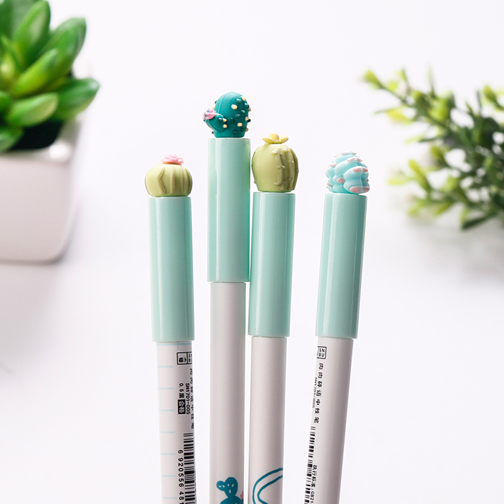4Pcs/Lot Kawaii Cactus Succulent Plants Gel Pen Creative 0.5 mm Gel Ink Pen Gift Stationery For Kids School Office Supply