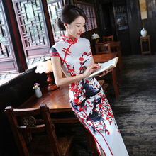 2017 Nouveau Vintage Cheongsam De Mode Long Qipao Chinois Traditionnel Robe Oriental Cols Mariée Traditions Robe Fiesta Xxxl