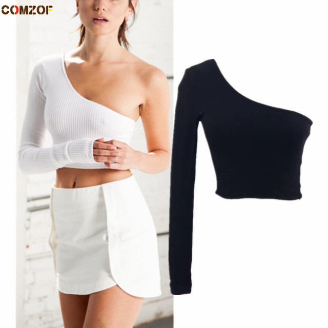 ad00054a167ae4 Europe and America fashion women t shirt long sleeve one shoulder sexy crop  top solid t-shirts womens clothing camiseta mujer