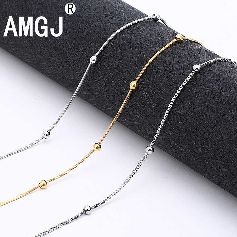 AMGJ 4 Style Stainless Steel Gold Color Round Ball Pendant Necklace Link Chain Necklace Fashion Jewelry for Women or Men
