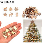 WEIGAO 100pcs Wooden Christmas Tree Ornaments Mini Snowflake Tree Hanging Pendants Christmas Decorations for Home New Year Gift