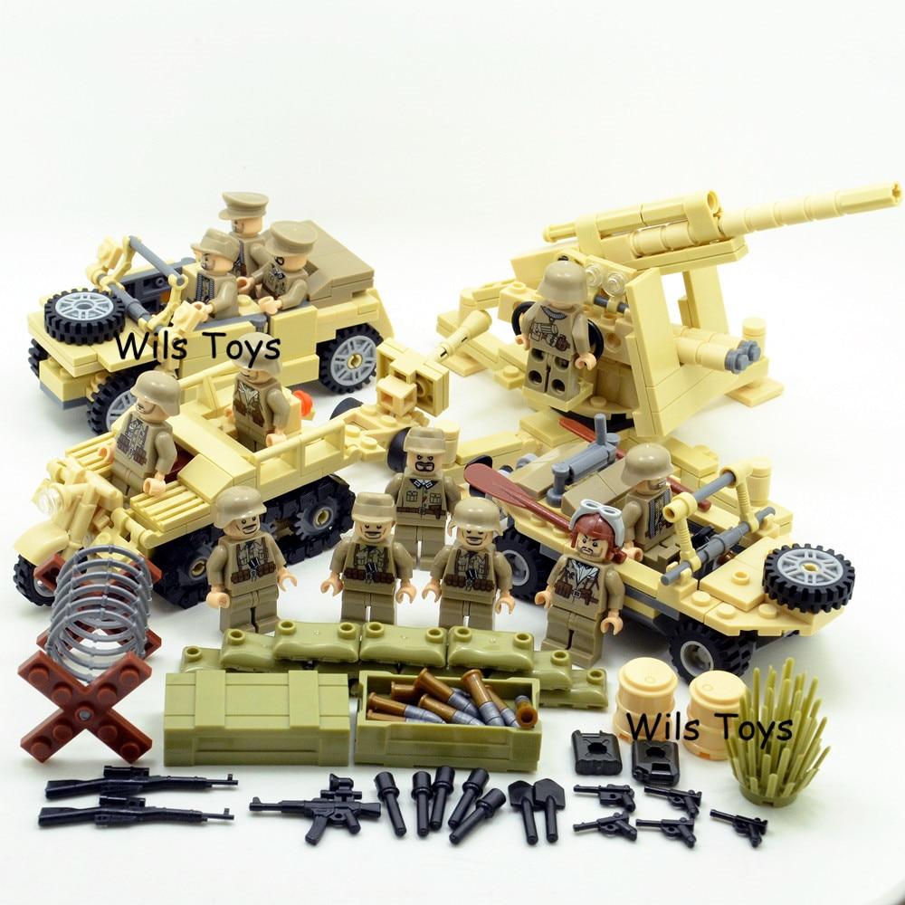 4 in 1 German Army Military World War 2 SWAT Soldier Weapon navy seals team Building Blocks Bricks Figures Boy Toy Children Set