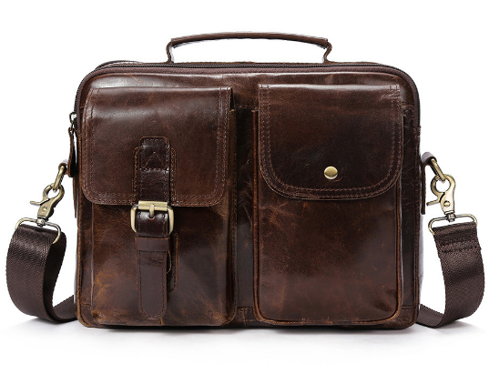Men's retro men's Genuine leather bag shoulder Messenger bag cross section first layer cow leather handbag 2017 now houlder messenger bag genuine leather business leisure bag retro 100% cow first layer of leather bag 14inch briefcase