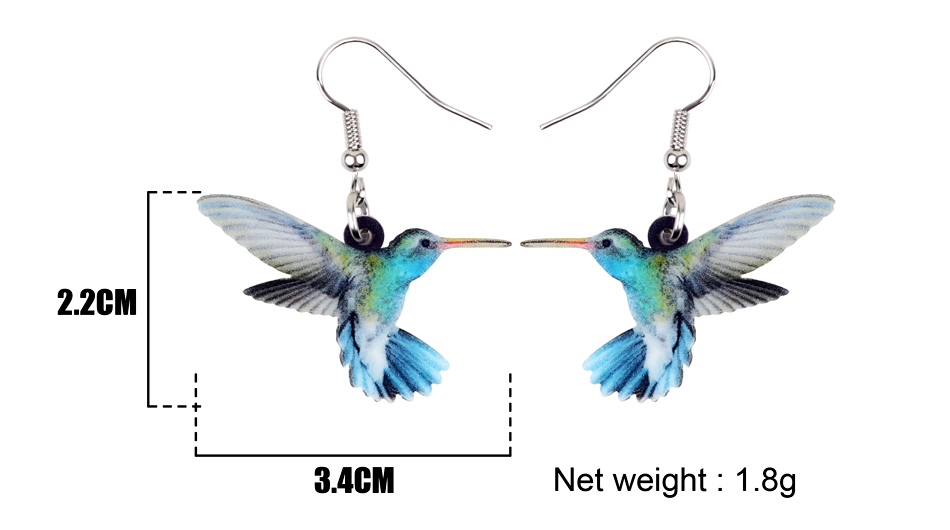 Bonsny Acrylic Flying Voilet Sabrewing Hummingbird Bird Earrings Big Long Dangle Drop Fashion Animal Jewelry For Women Girls Kid 4