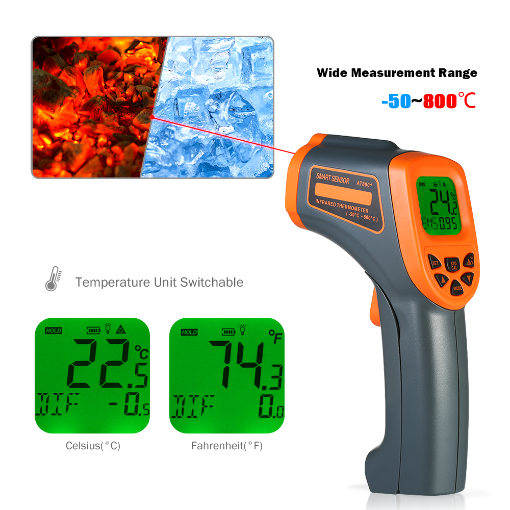 50 800 Centigrade Digital Non contact IR Infrared Thermometer 12 1 Handheld LCD Temperature Tester