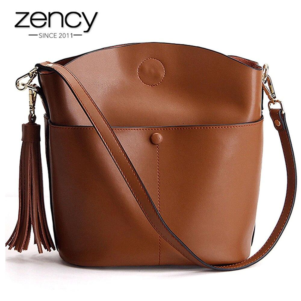 Zency 100 Genuine Leather Retro Brown Women Shoulder Bag With Tassel Fashion Lady Crossbody Messenger Purse
