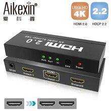 Aikexin 4 K Splitter HDMI 1×2 Divisor de HDMI2.0 HDCP2.2 3D 1080 P HDTV 1 Entrada 2 Saída HDMI Switcher 2.0 Apoio 3840×2160/60Hz