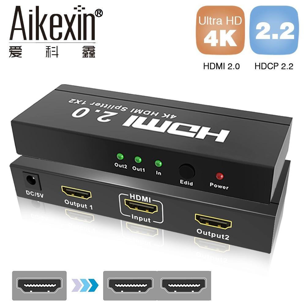Aikexin UHD HDMI Splitter 2,0 1x2 HDMI 2,0 Splitter HDCP2.2 HDR сплиттер HDMI 2,0 4 К/60 гц HDMI2.0 сплиттер для Blu-Ray DVD PS3/4
