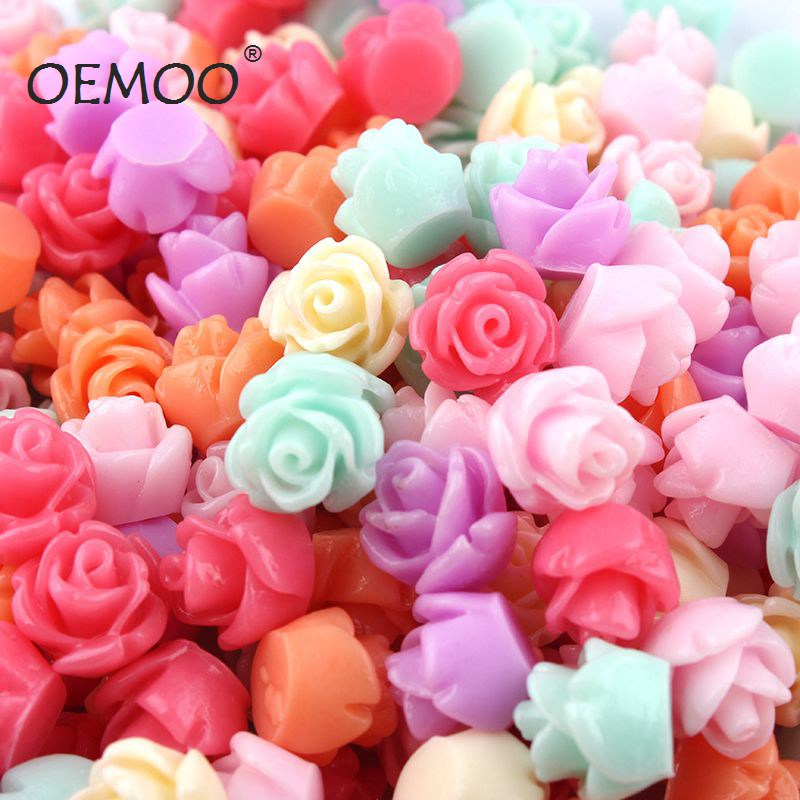 50pcs/lot   Mulity Style   Flat Back ResinsCabochon Scrapbook, Resin Cabochons Artificial Rose Phone Case DIY Deco