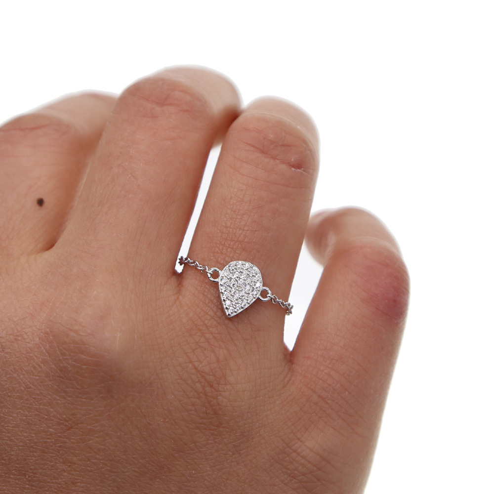 Hot 100% 925 Sterling Silver tear drop cz Together Chain Rings With clear CZ Authentic Luxury Adjustable Ring Fashion Jewelry