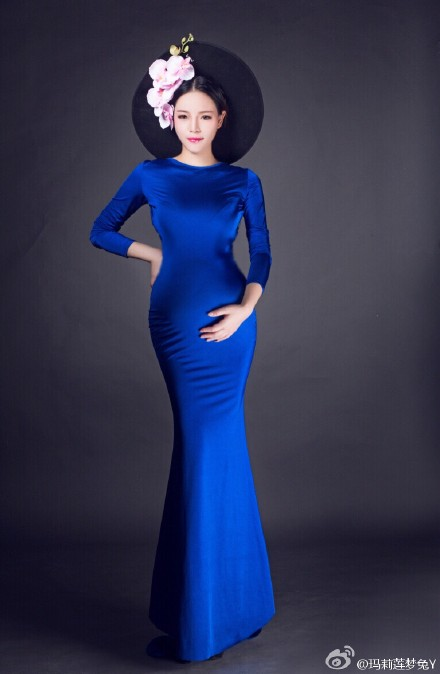 Blue Pregnant graphy Props Elastic Backless Maternity