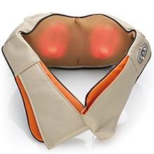 GPYOJA Multifunction U Shape Electrical Shiatsu Back Neck Shoulder Massager Infrared 3D Massage Kneading Pillow Home Car Use