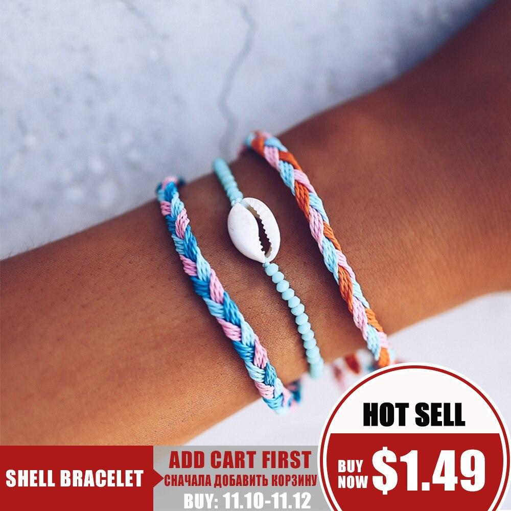 17KM Boho Multi Layered Cowrie Shell Bracelet For Women 3PCS/Set Beach Handmade Woven Rope String Friendship Charm Bracelets