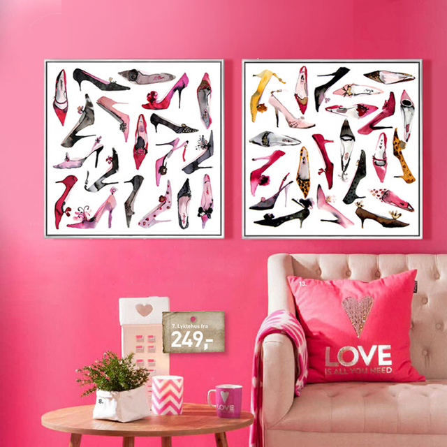 Modern fashion watercolor painting canvas art High heels posters and ...