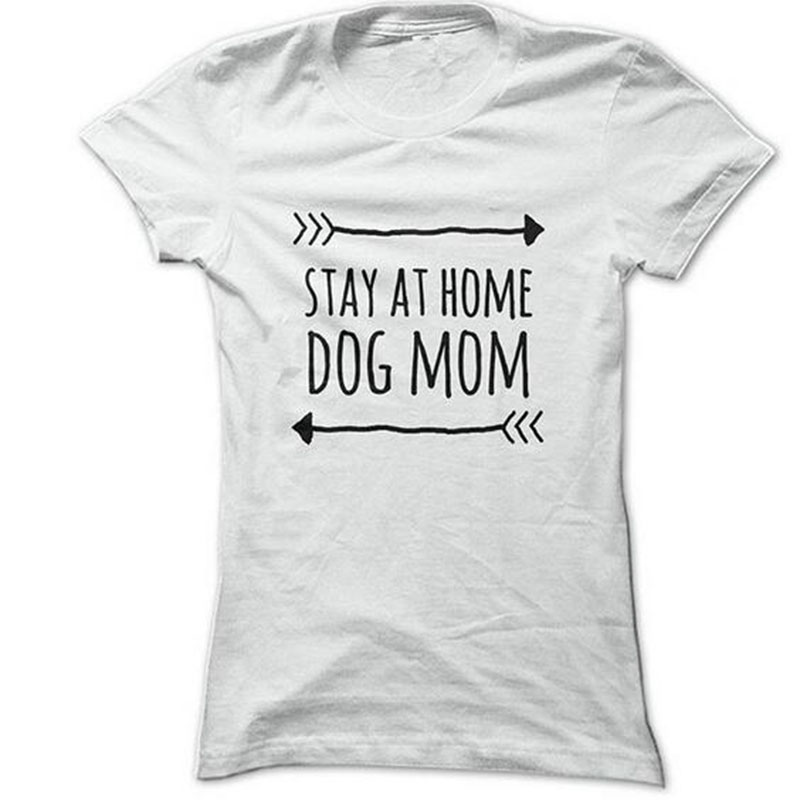 Harajuku women t shirt letters print stay at home dog mom for How to print in t shirt at home