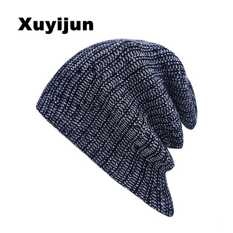 XUYIJUN winter autumn reversible beanie men womens hats touca gorro snow caps knit hat skull chunky baggy warm unisex skullies hight quality winter beanies women plain warm soft beanie skull knit cap hats solid color hat for men knitted touca gorro caps
