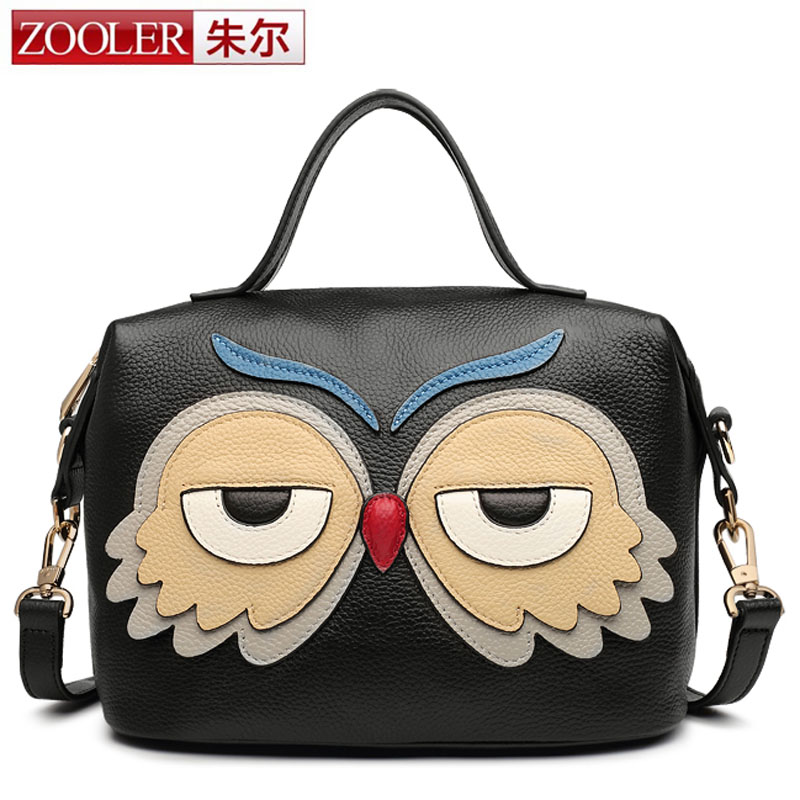 ZOOLER New Women Cool Black Handbag Genuine Leather Owl bag Female Hot Sale Women Single-shoulder Bag Fashion Bag Crossbody Bag yuanyu 2018 new hot free shipping python skin women handbag single shoulder bag inclined female bag serpentine women bag